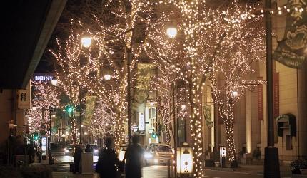 日本冬天自由行最好玩祭典松本冬日节的并木道夜景灯饰侧拍