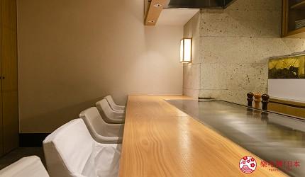 東京銀座和牛鐵板燒「しろや銀座亭」店內吧檯座位