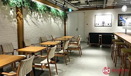 日本自由行shopping购物吃饭食饭玩乐设施都有的羽田机场的休息空间the hanadahouse的餐厅推荐推介可以外卖外带堂食的ANA Hangar bay Café by PABLO的座位区