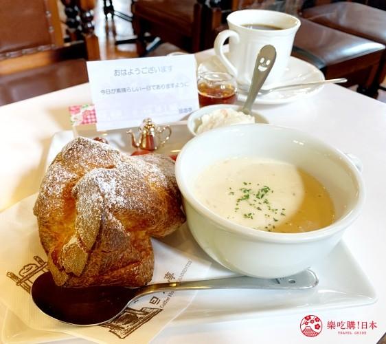 輕井澤一日遊必吃打卡美食的「珈琲館旦念亭」的早餐餐點