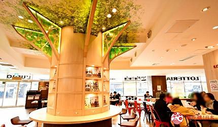 东京赏樱亲子游必到上野L'UENO吃日本最有名的速食LOTTERIA的座位区