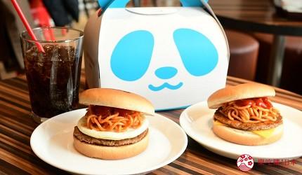 东京赏樱亲子游必到上野L'UENO吃日本最有名的速食LOTTERIA的熊猫图案面包可选搭配起司(左)或鸡蛋(右)