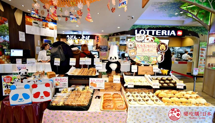 东京赏樱亲子游必到上野L'UENO吃日本最有名的速食LOTTERIA的面包区