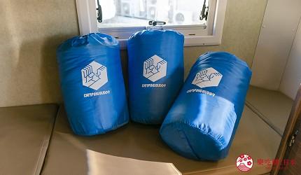 日本自由行自助自駕露營車租車JapanC.R.C露營車車內睡袋